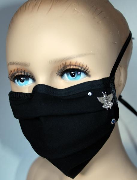 Wiederverwendbarer Behelfs-Mundschutz schwarz Schutzengel