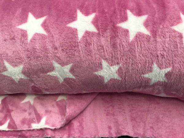 Wellnessfleece rosa mit weißen Sternen doubleface