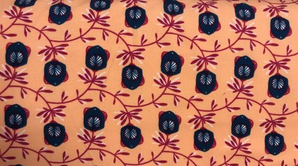 French Terry Blumen auf apricot