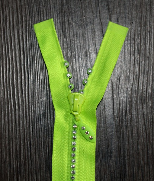 Strass-Reißverschluss gelb, Breite 4 mm, teilbar