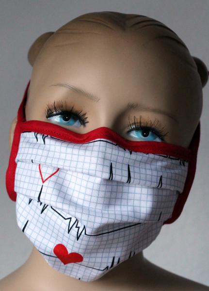 Wiederverwendbarer Behelfs-Mundschutz EKG Herzlinie weiß