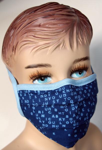 Wiederverwendbarer Behelfs-Mundschutz Blau Schrift