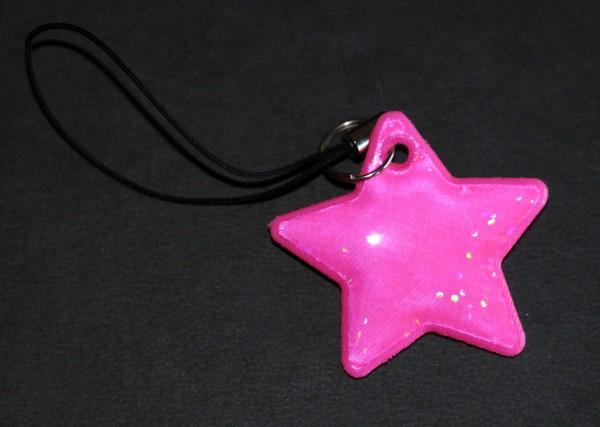 Reflex-Anhänger in Stern-Form, pink