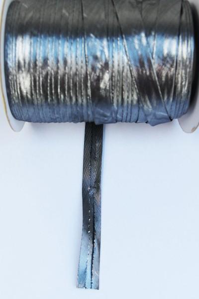 Satin-Schrägband 15mm gefalzt, Lurex