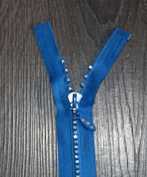 Strass-Reißverschluss blau, Breite 4 mm, teilbar