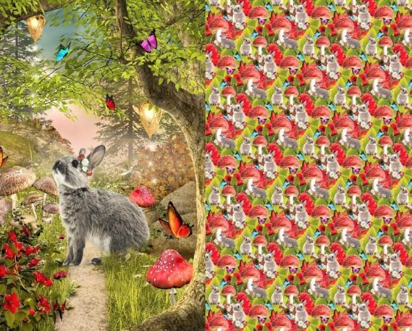 Stenzo Jersey-Panel Kaninchen im Herbstwald