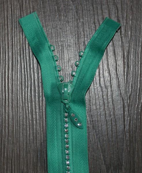 Strass-Reißverschluss grün, Breite 4 mm, teilbar