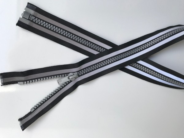 Krampenreißverschluss schwarz mit Reflektorbändern 5mm, teilbar