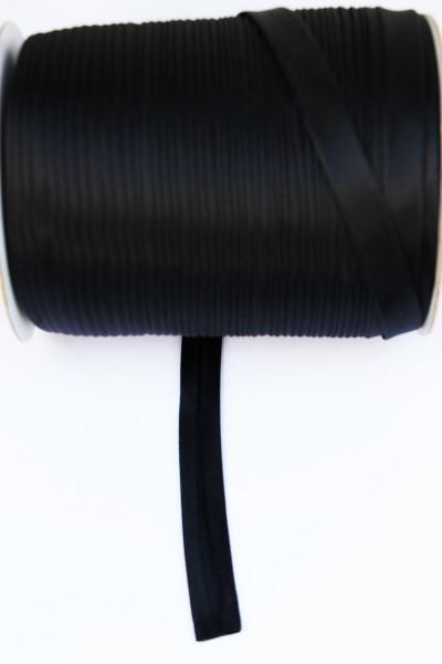 Satin-Schrägband 15mm gefalzt, schwarz