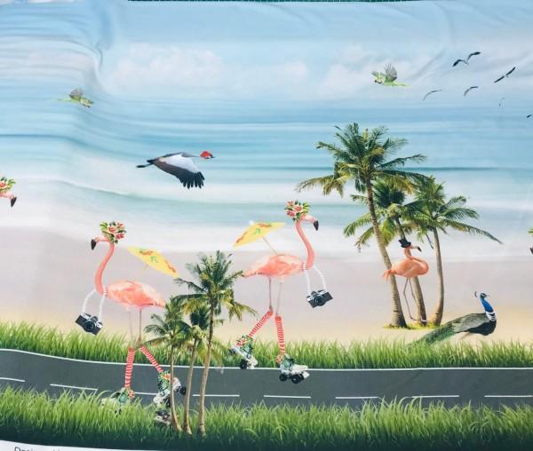 Stenzo Jersey Doppel-Bordüre Flamingos am Strand
